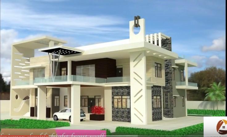White Indian Bungalow Beautiful House Design Glass Balcony Gray Stone Acha Homes