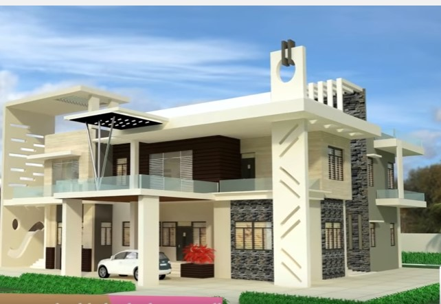 White Indian Bungalow Beautiful House Design Glass Balcony Gray Stone