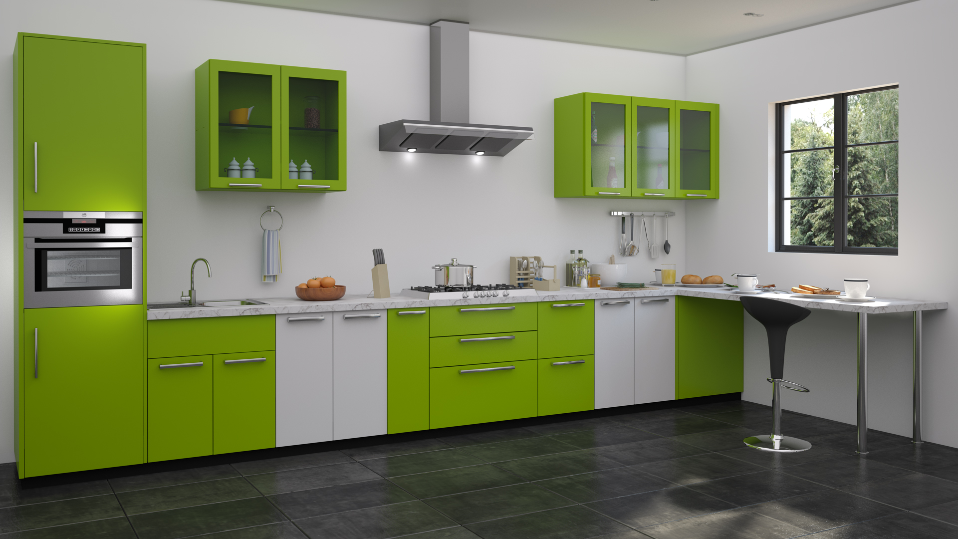 Attrayant General Details Interior : Modular Kitchen Style : Contemporary Color :Green  Color