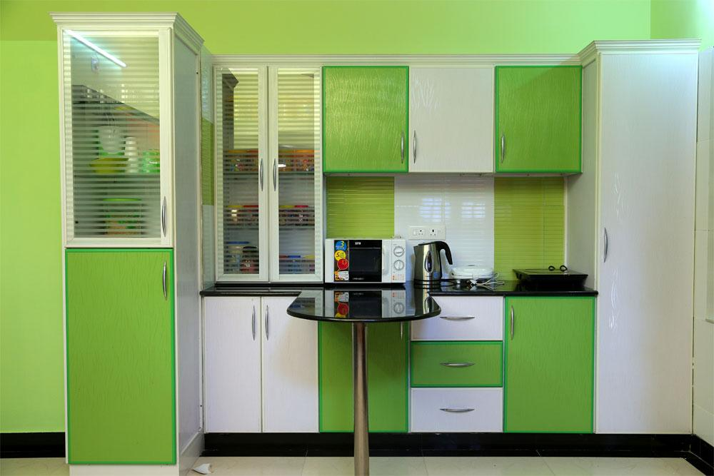 marvelous kitchen color scheme | Marvelous Contemporary Green color Kitchen Design | Acha Homes
