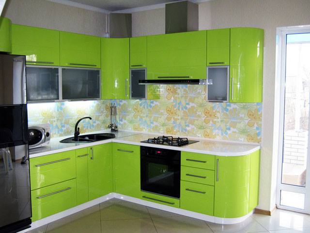 Marvelous Contemporary Green Color Kitchen Design Homes In Kerala India