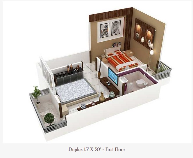 450 Square Feet Double Floor Duplex Home Plan on 1 Bedroom House Plans Under 1000 Square Feet