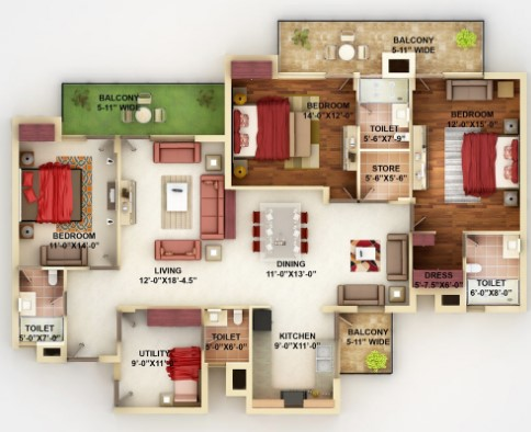 Indian Bedroom House Floor plans Design Ideas Remodels Kerala Homes
