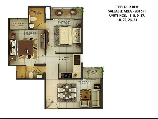 Total Area : 900 Square Feet Total Bedrooms :2. Type : Single Floor Style :  Traditional. Specifications Ground Floor Number Of Bedrooms 2. Bathroom : 2