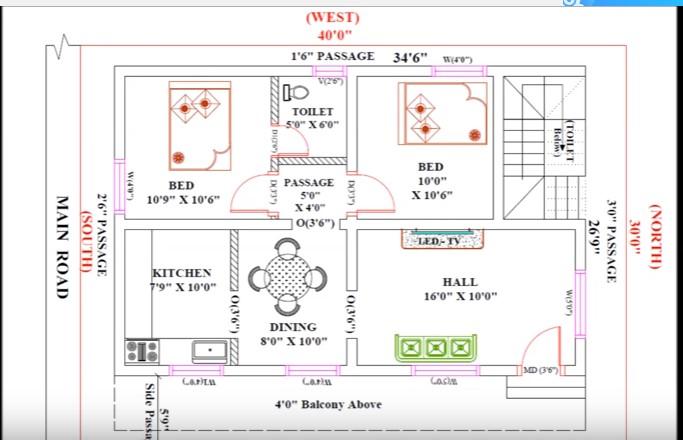 30 feet by 40 stylish house plan everyone will like acha for House plan for 30 feet by 40 feet plot
