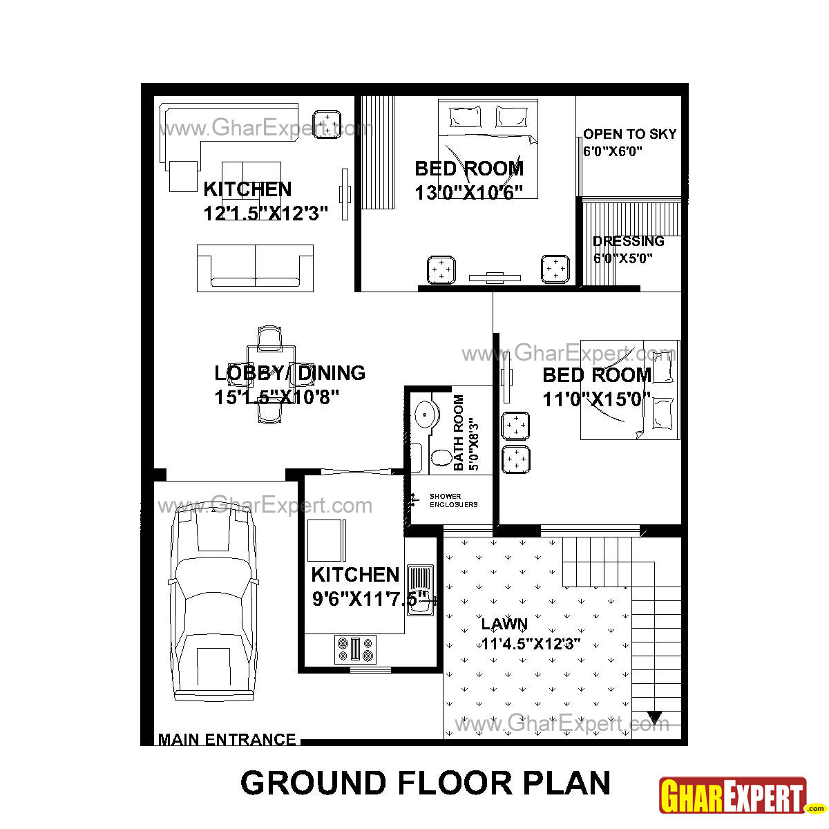 House plan for 33 feet by 40 feet plot everyone will like for 40 ft wide house plans