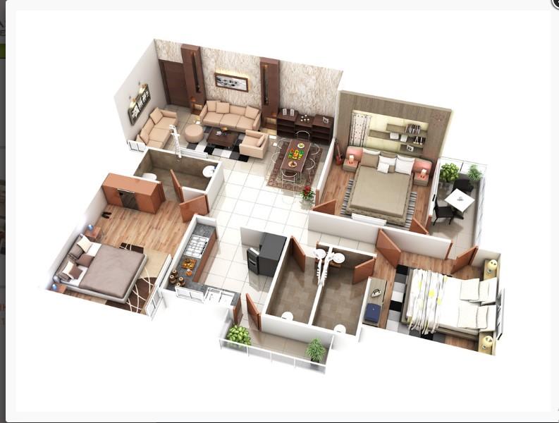 1100 square feet 3D Home Plan Everyone Will Like | Acha Homes