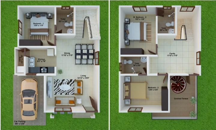 15 Feet By 40 East Facing Beautiful Duplex Home Plan Acha Homes