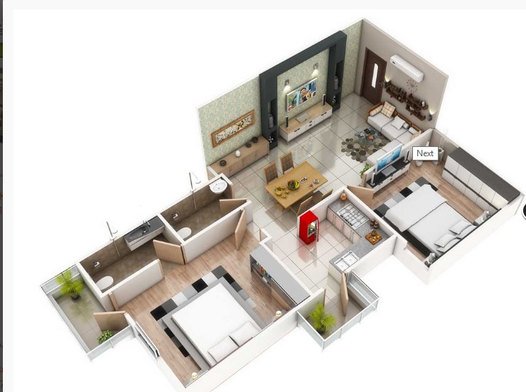 1700 Square Feet Two Bedroom Home Plan Acha Homes