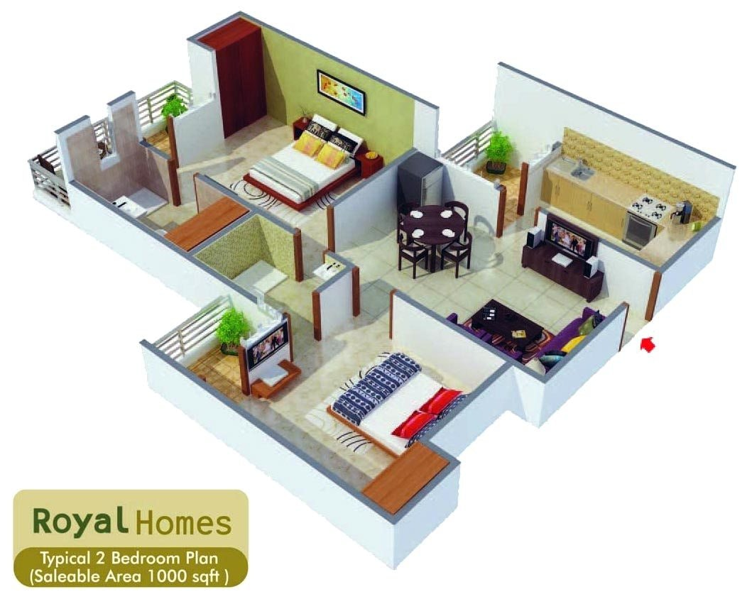 Square Feet Home Plan With 2 Bedrooms Everyone Will Like