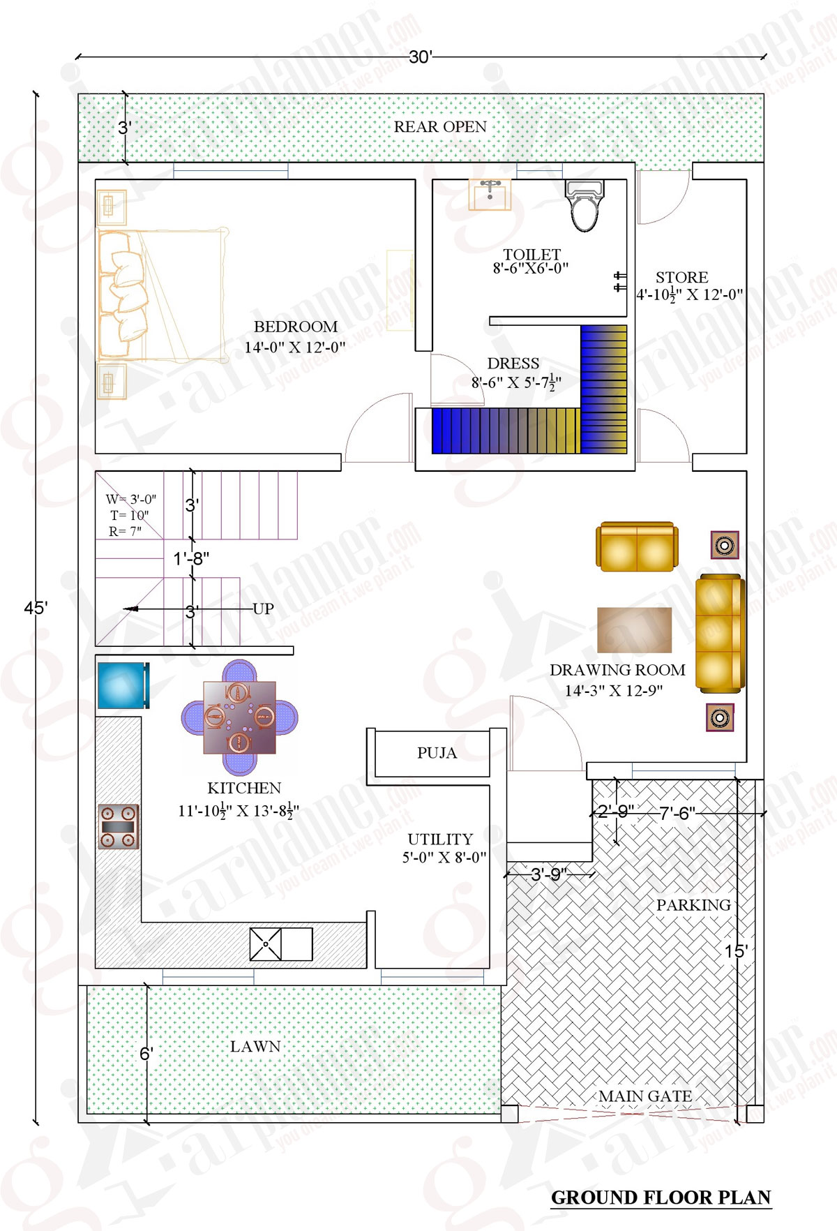 1000 sqft home plan
