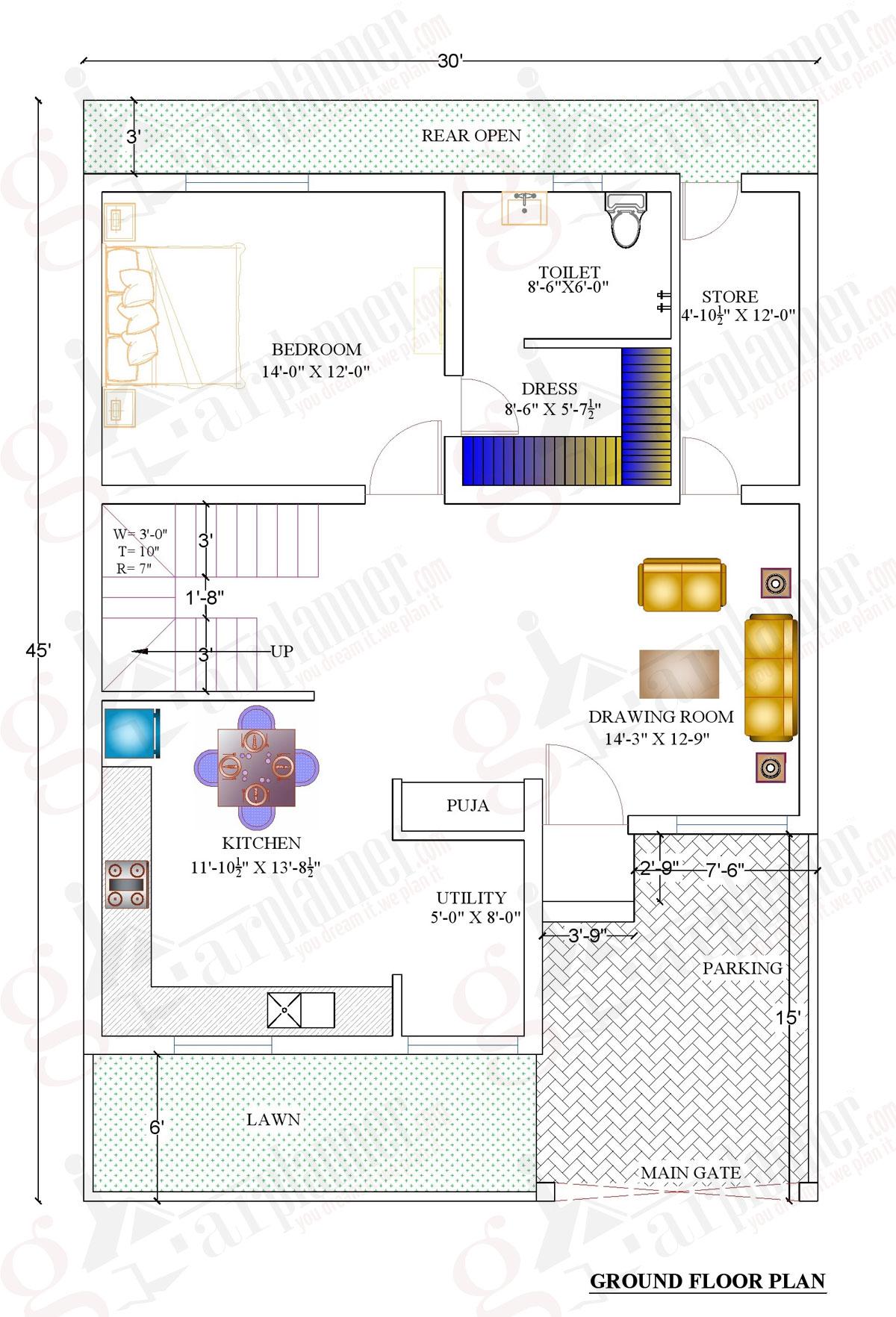 1000 Square Feet Home Plans | Acha Homes on