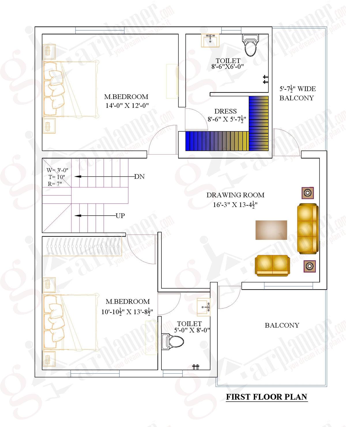 1000 sqft home plan1