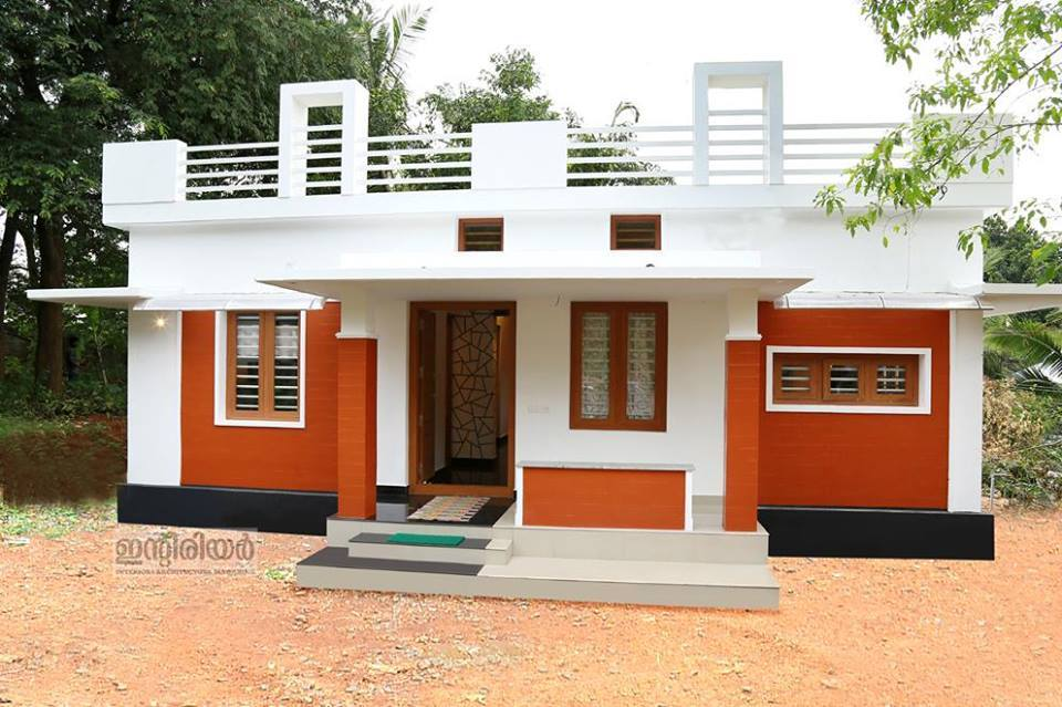1250 square feet kerala house plan with two bedrooms for Home plans for small homes