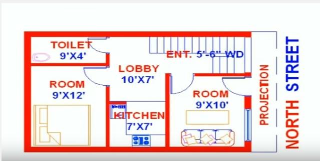 Vastu House Map North Face 18 Feet By 27 Acha Homes