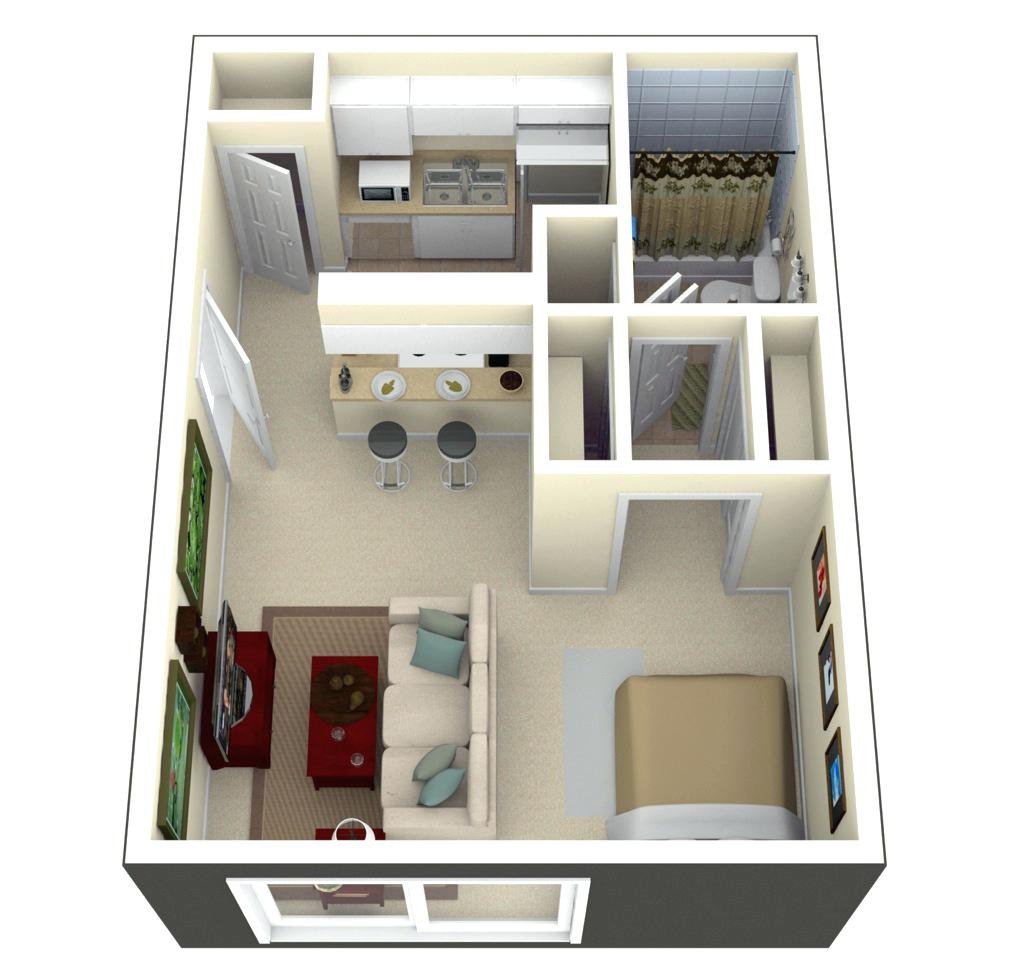 Tiny house floor plans and 3d home plan under 300 square for Small house plan design 3d