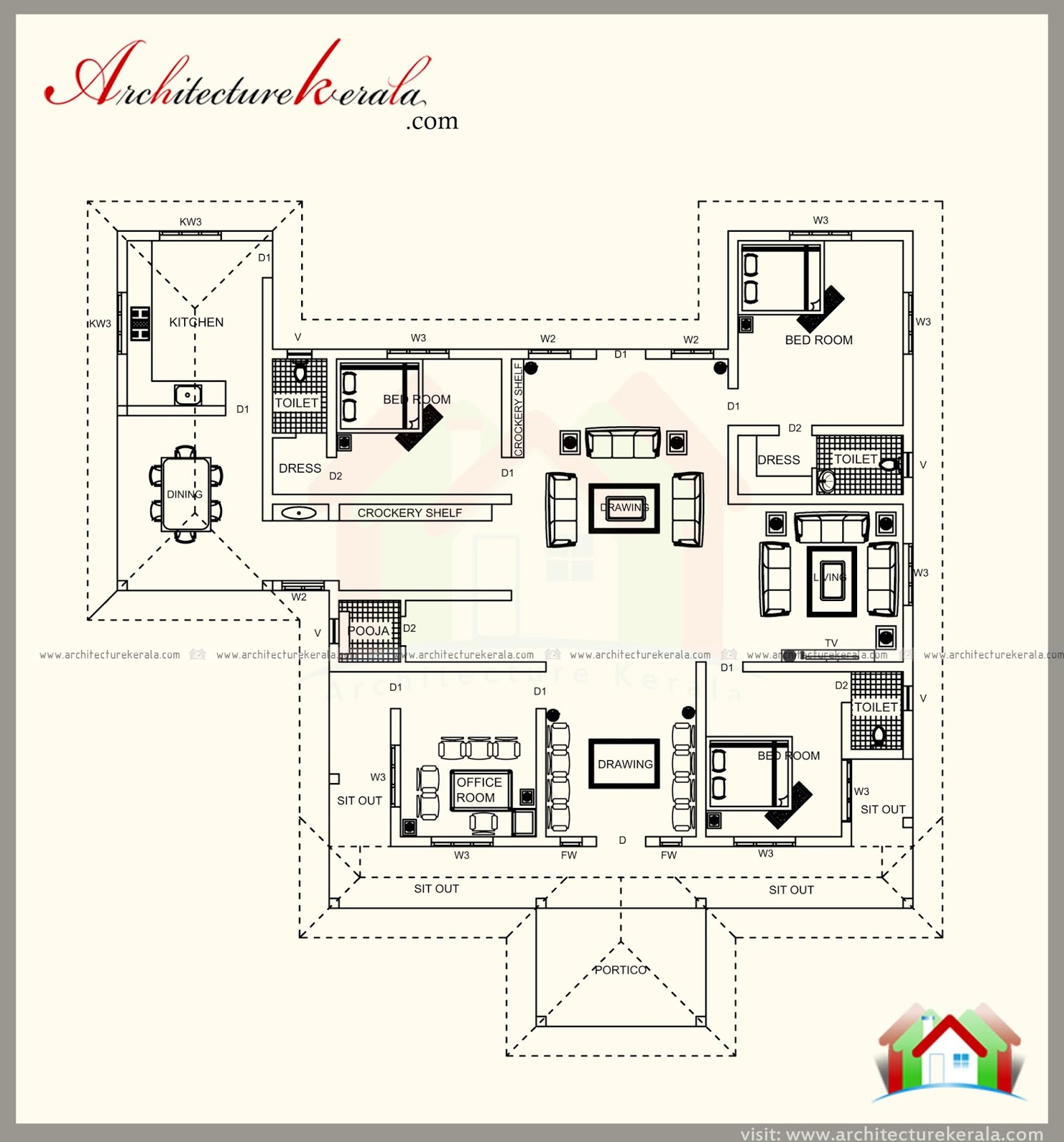 Home Design 1700 Square Feet Part - 26: But, This Is Totally Different From Larger Counterparts, 1700 Square Feet  Traditional House Plan With Beautiful Elevationoffers A Spacious Feel With  The ...