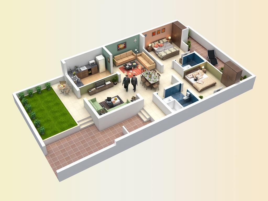 2 Bedroom Open Floor Plans