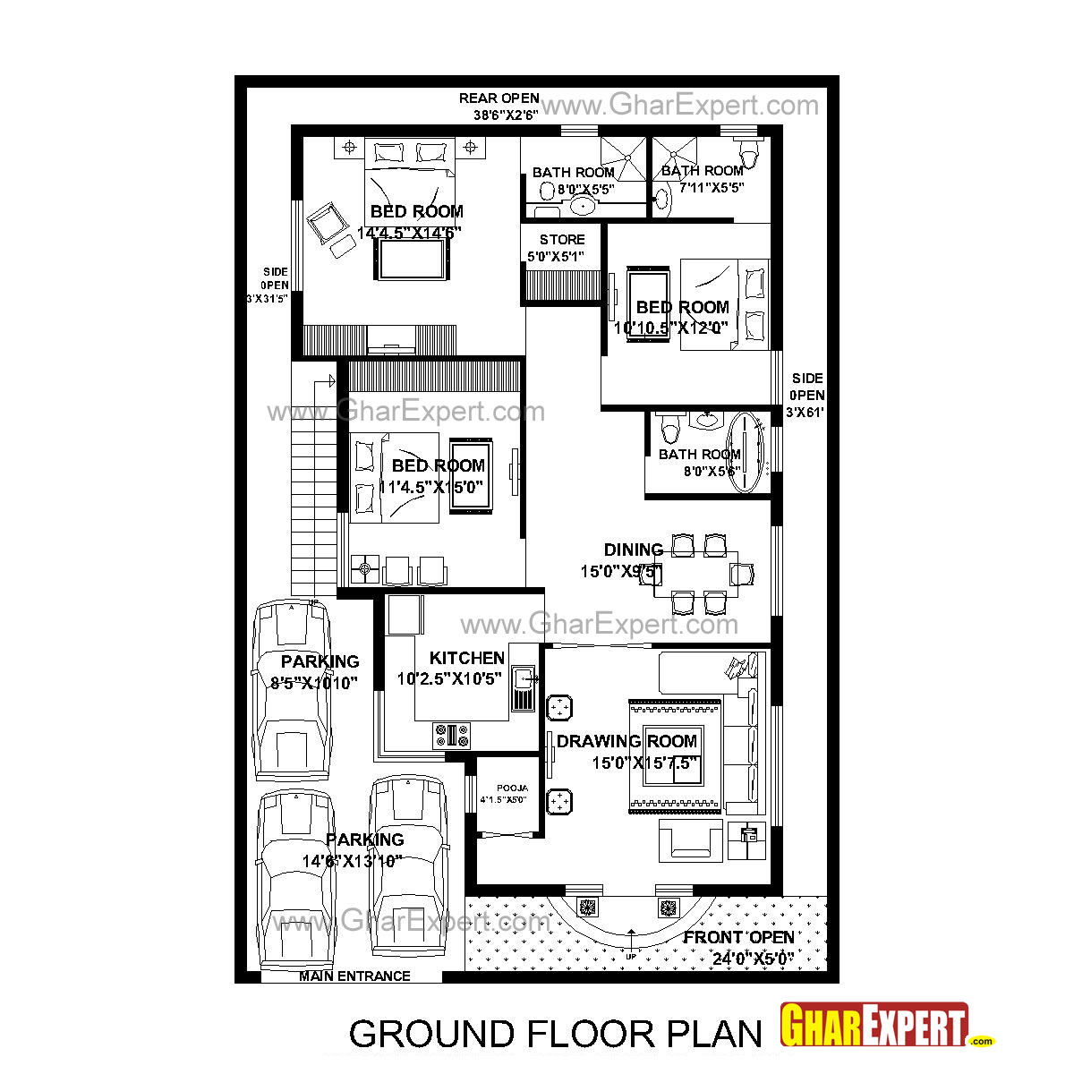 House Plan For 40 Feet By 60 Feet Plot With 7 Bedrooms