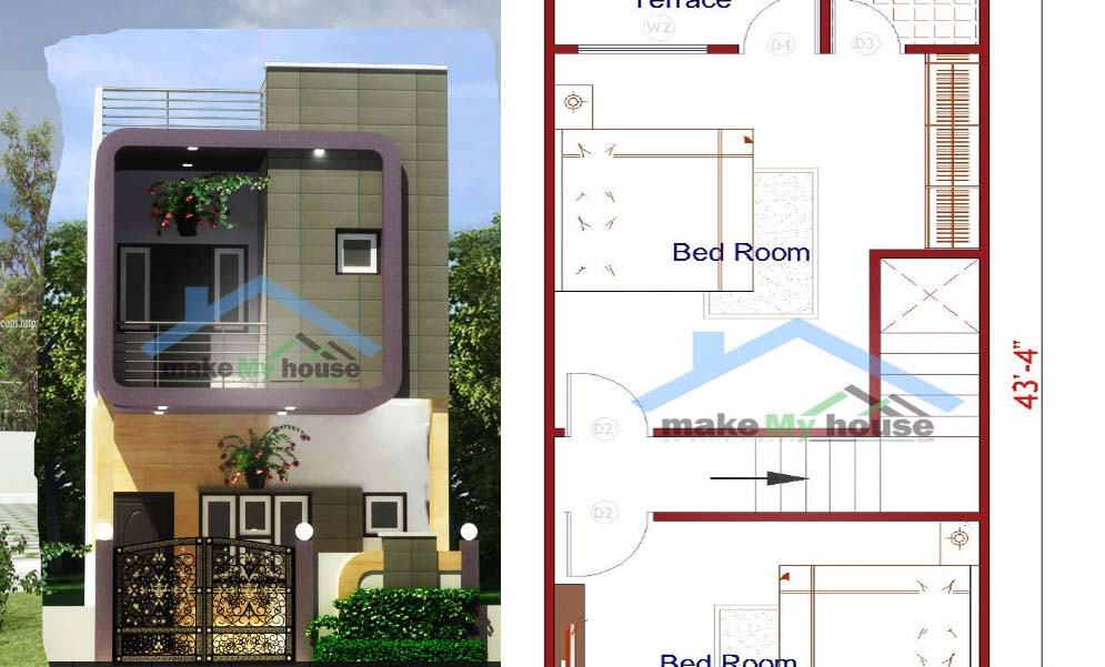 15×50 House Plan For Sale With Three Bedrooms