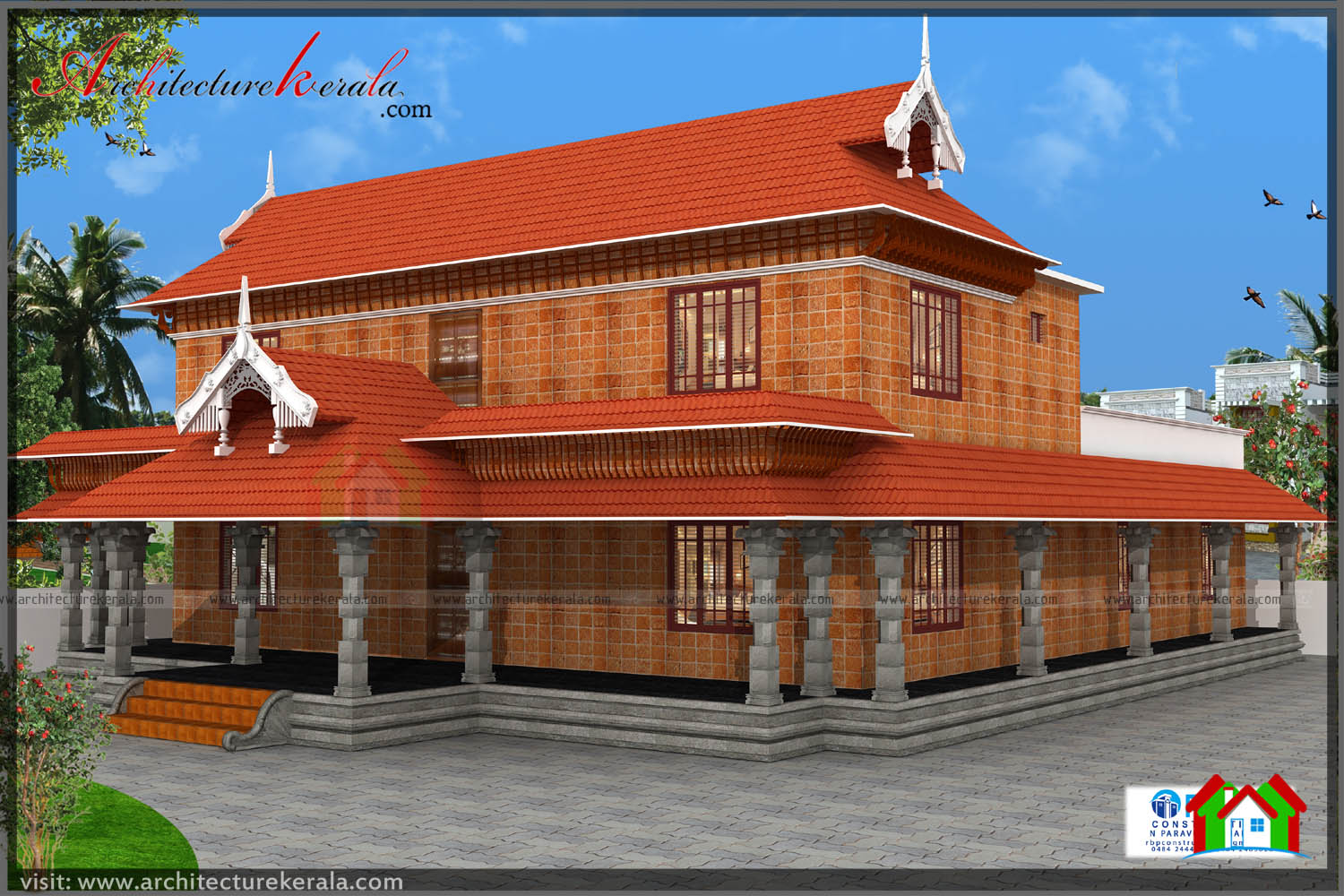 Kerala house plans with verandahs for Traditional house style