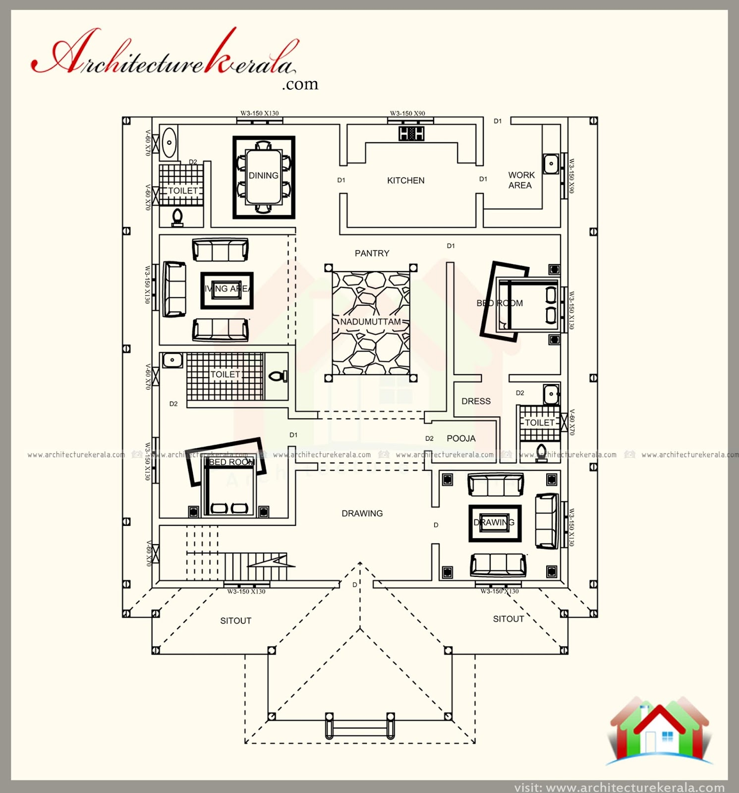 Kerala Style House Plan with Elevations, Contemporary ...