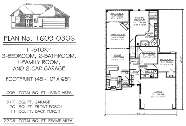 Two bedroom house plans with two car garage homes in for How wide is a 3 car garage