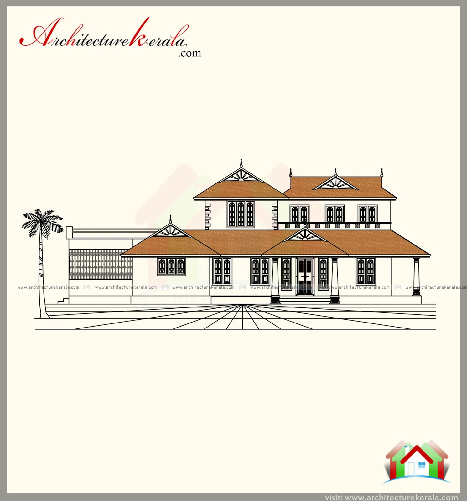 2500 Square Feet Kerala Style House Plan With Three Bedrooms