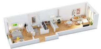 one bedrooms 3d home plan everyone will like - 3d Plan For House