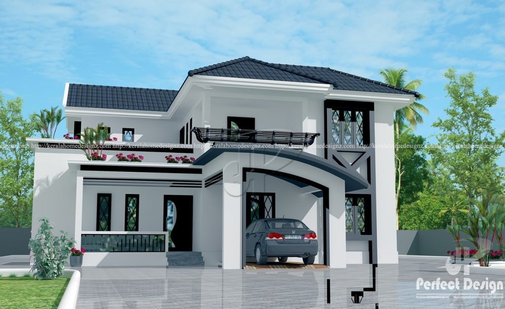 Good 4 Bedroom Mixed Roof Home Part - 11: 2044 Square Feet Modern Mixed Roof Home Design With 4 Bedrooms