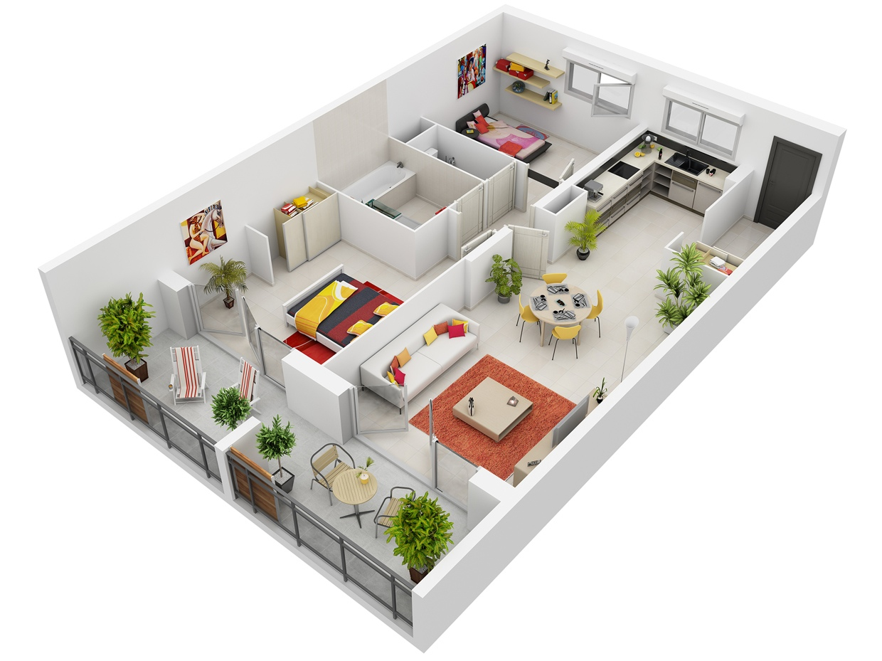 Best 5 Three Bedroom 3D House Plans Everyone Will Like ...