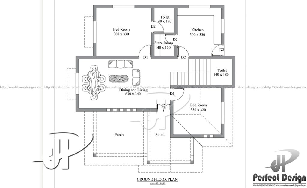 925 Square Feet Small Home Design With 2 Bedrooms Homes