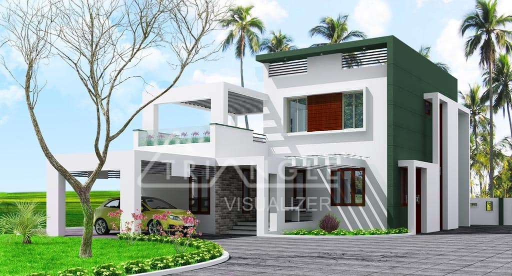 Low Cost Stylish Home Design 2000 Square Feet With 3 Bedrooms Acha