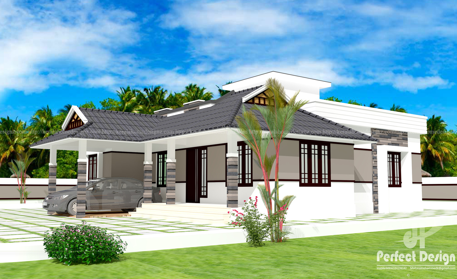 1086 square feet traditional mix single floor house 2 ...