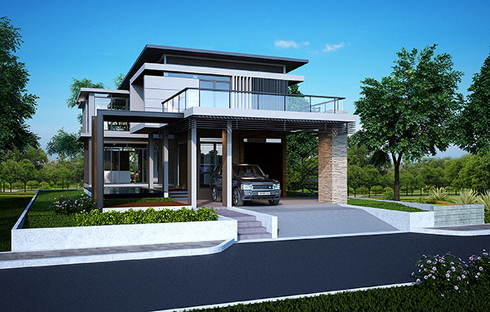 Double Story Modern House Plan For 340 Square Meters 1 - Download Single Storey Small Box Type House Design With Floor Plan Background