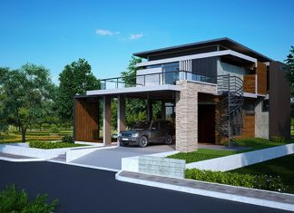 Double Story Stylish House Plan For 3600 Square Feet