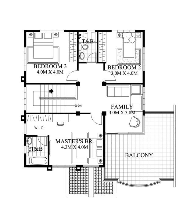 Four Bedroom Double Story Stylish House Plan Acha Homes