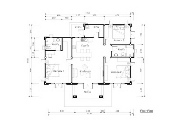 1141 square feet Single Story House Plan with Three ...