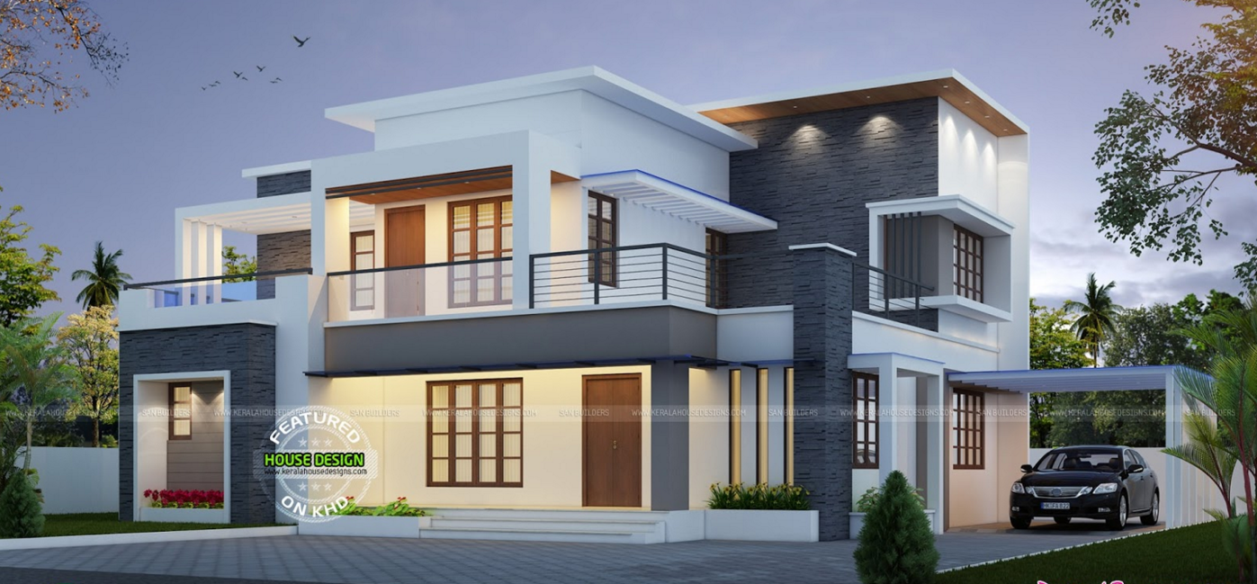 best contemporary inspired kerala home design plans acha homesModern House Design Kerala #9