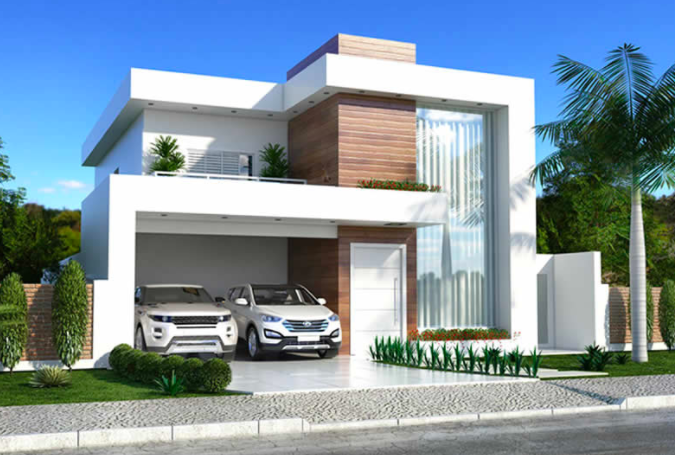 Modern double story house plan with clean fa ade homes for Clear story roof design