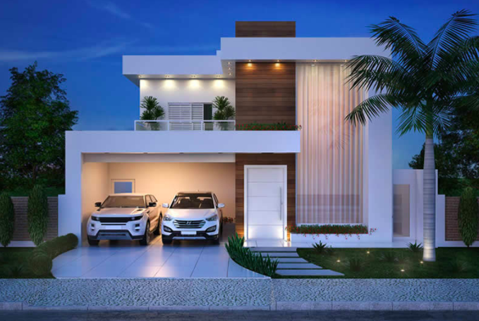 Incredible Modern Double Story House Plan With Clean Facade Acha Homes Beutiful Home Inspiration Cosmmahrainfo