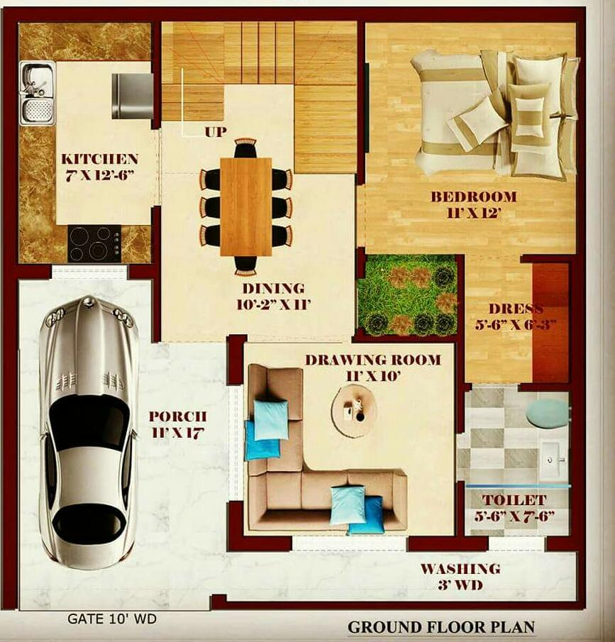 2D hOME PLAN BELOW 8 LAKHS