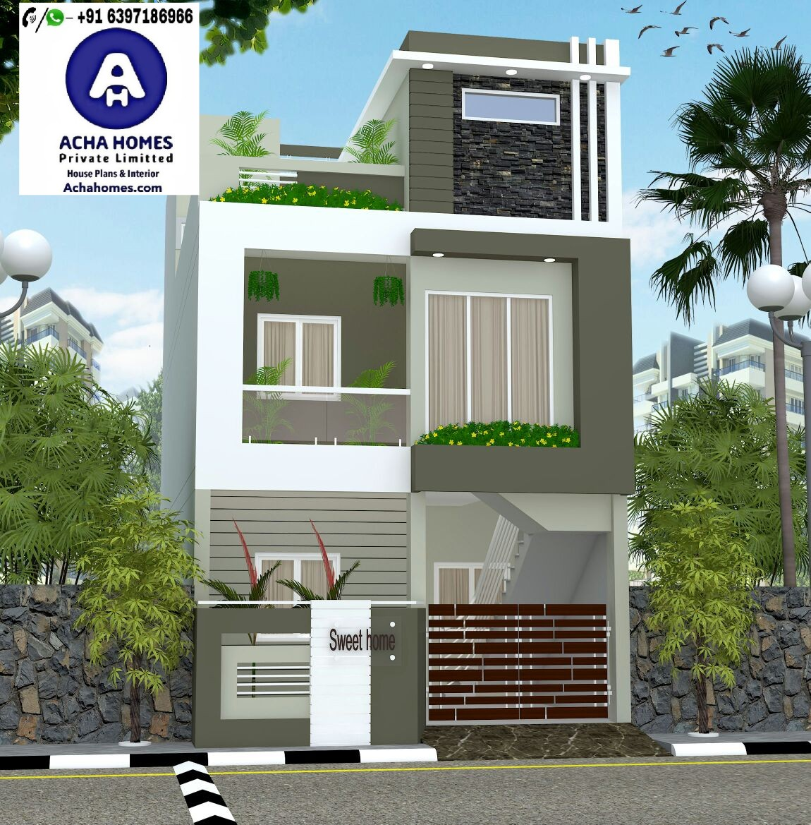 Modern home design for 25 feet by 33 feet plot homes in for Car dimensions in feet india