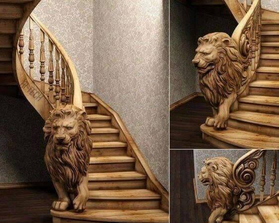 modern handmade wood stairs