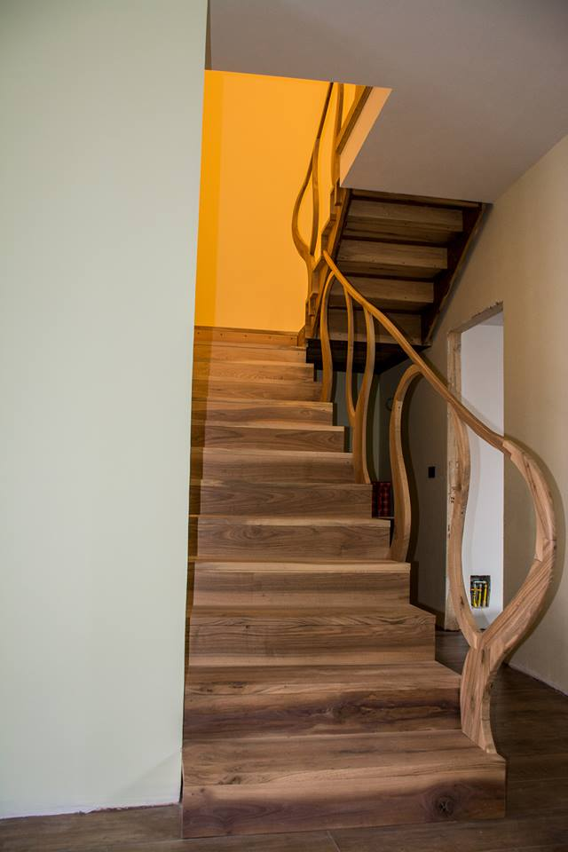 traditional handmade wood stairs