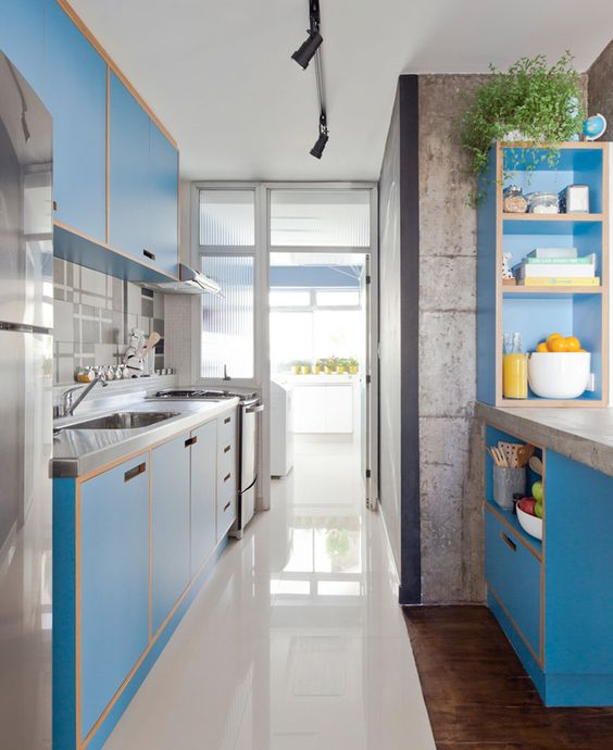 Best Long Narrow blue colour Modern Kitchen Ideas
