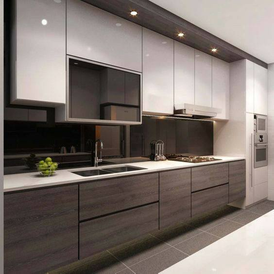 Best Long Narrow white and wood colour Modern Kitchen Ideas