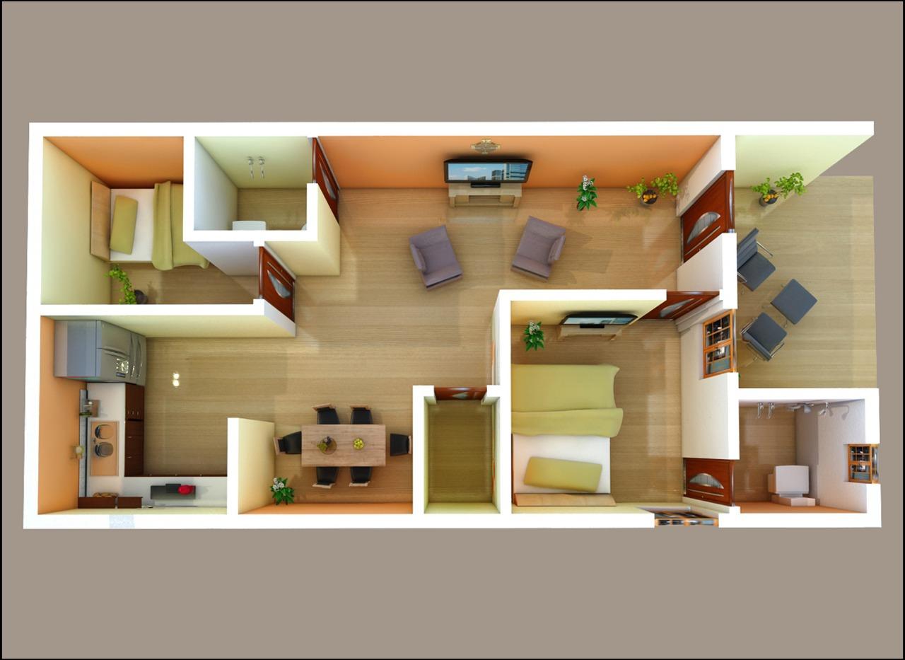 Best 3D Floor Plan with 2 Bedrooms