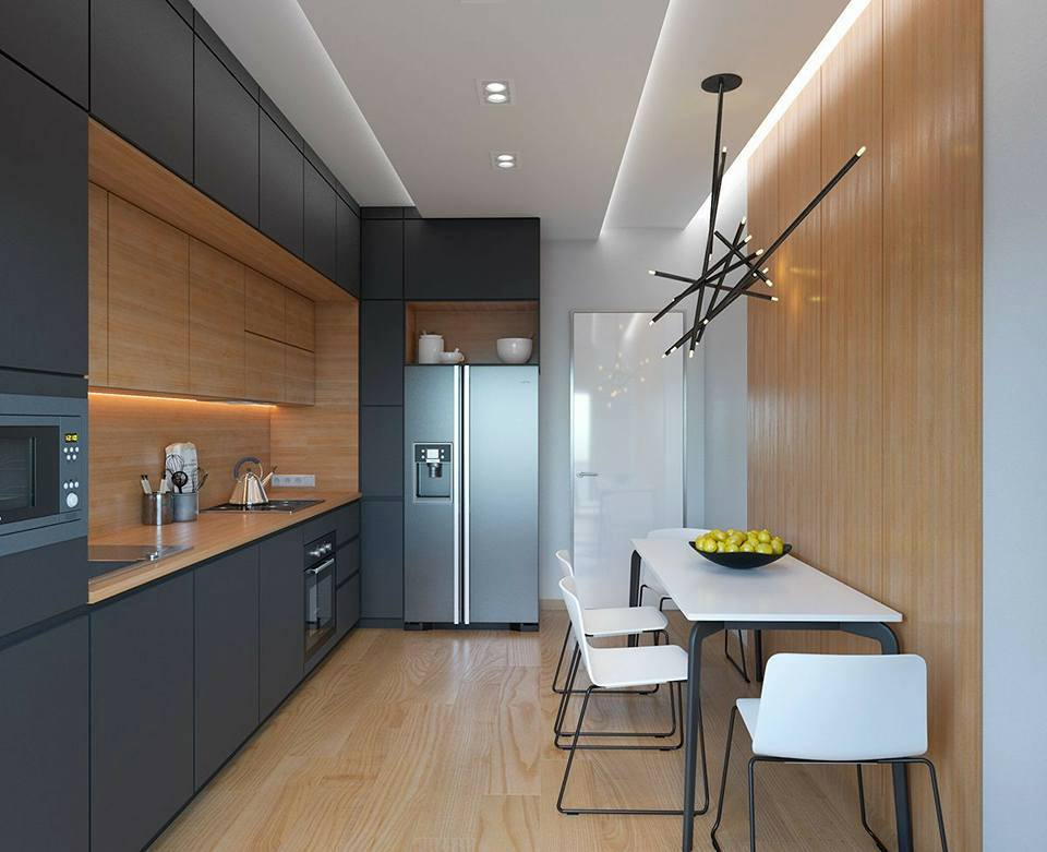 Best Long Narrow black and wood colour Modern Kitchen Ideas