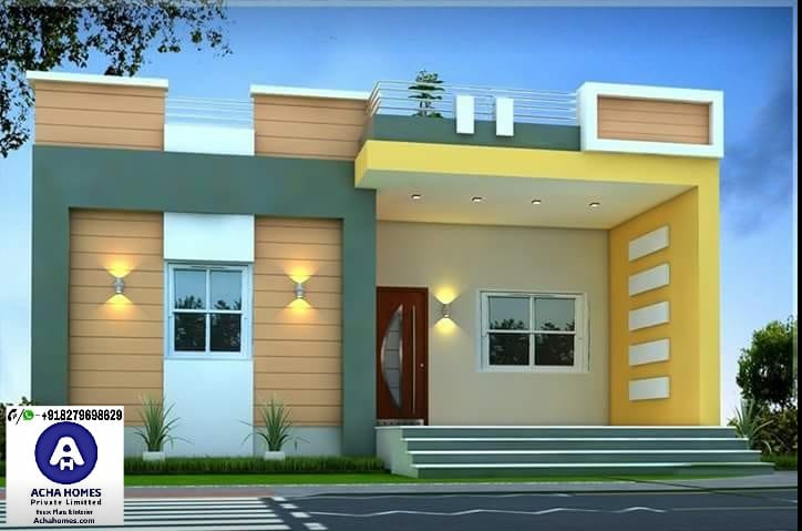 800 SQFT MODERN HOME DESIGN 1 - 14+ 20 Foot Front Elevation Small House Single Floor House Front Design Images